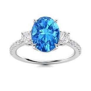 Natural 2.57 CTW Topaz & Diamond Engagement Ring 14K