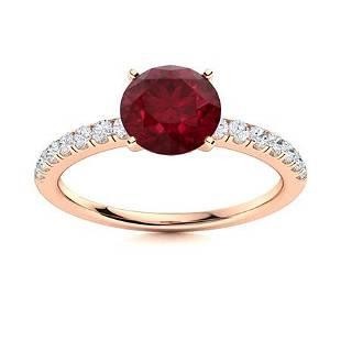 Natural 2.51 CTW Ruby & Diamond Engagement Ring 14K