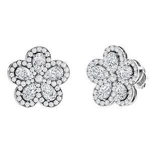 5.63 CTW White Topaz Halo Earrings 14K White Gold