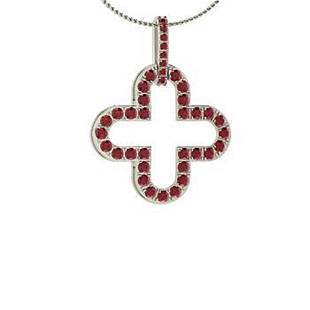 0.57 ctw Ruby Necklace 14K White Gold