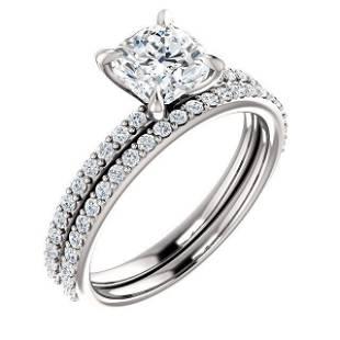 Natural 1.72 CTW Cushion Cut Diamond Engagement Ring