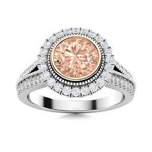 Natural 1.79 CTW Morganite & Diamond Engagement Ring