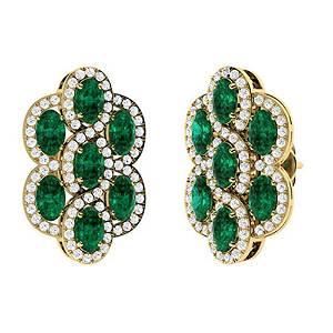 4.17 CTW Emerald & Diamond Drops Earrings 18K Yellow