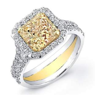 Natural 2.12 CTW Canary Yellow Square Radiant Diamond