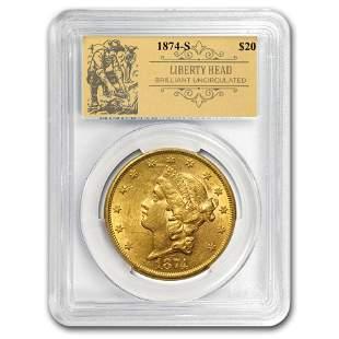 1874-S $20 Liberty Gold Double Eagle BU PCGS