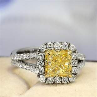 Natural 2.42 CTW Canary Yellow Square Radiant Cut