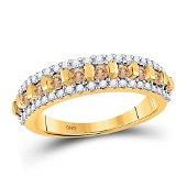 Brown Diamond Triple Row Band 1/2 Cttw 10kt Yellow Gold