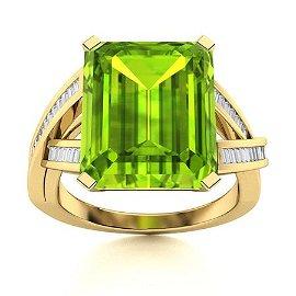 Natural 5.09 CTW Peridot & Diamond Engagement Ring 18K