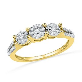 Diamond 3-stone Cluster Ring 1/4 Cttw 10kt Yellow Gold