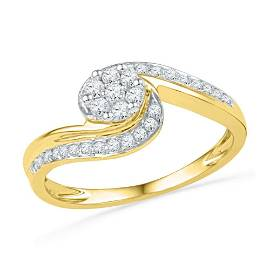 Diamond Flower Cluster Curved Ring 1/3 Cttw 10kt Yellow