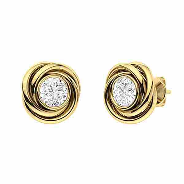 1.66 CTW Diamond Studs Earrings 18K Yellow Gold