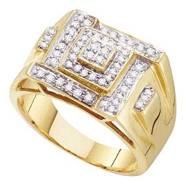 Mens Diamond Square Cluster Ring 1/2 Cttw 10kt Yellow