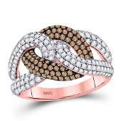 Brown Diamond Link Fashion Ring 1-1/2 Cttw 14kt Rose