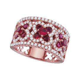 Ruby Diamond Band Ring 2-1/5 Cttw 18kt Rose Gold