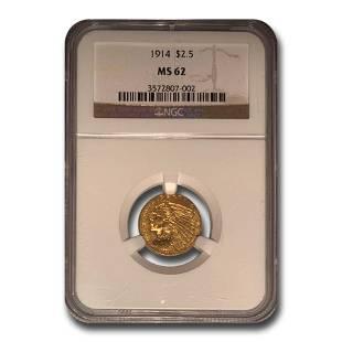 1914 $2.50 Indian Gold Quarter Eagle MS-62 NGC