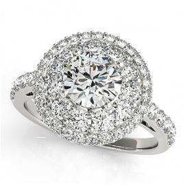 Natural 2.09 ctw Diamond Halo Ring 14k White Gold