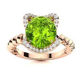 Natural 1.97 CTW Peridot & Diamond Engagement Ring 14K