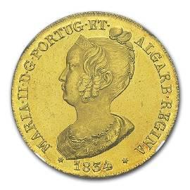 1834 Portugal Gold Peca 6400 Reis Maria II MS-64 NGC