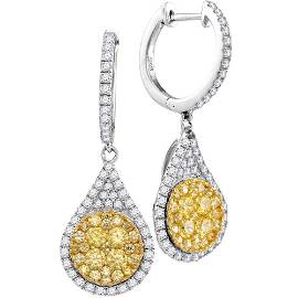 Yellow Diamond Teardrop Dangle Earrings 1-5/8 Cttw 14kt