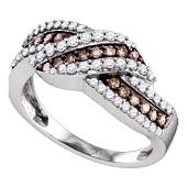 Brown Diamond Crossover Band Ring 3/4 Cttw 10kt White