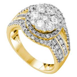 Diamond Flower Cluster Ring 2 Cttw 14kt Yellow Gold