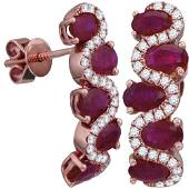 Oval Ruby Diamond Hoop Earrings 2-7/8 Cttw 18kt Rose