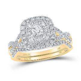 Diamond Bridal Wedding Ring Band Set 1 Cttw 14kt Yellow