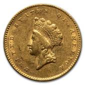 1855 $1 Indian Head Gold Type 2 AU