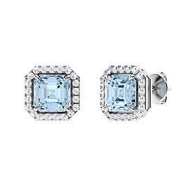 1.25 CTW Aquamarine & Diamond Halo Earrings 14K White