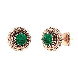 1.174 CTW Emerald Halo Earrings 14K Rose Gold
