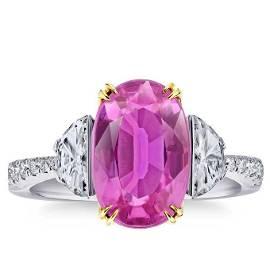 Natural 6.64 CT Pink Sapphire & Diamond Ring 18K White