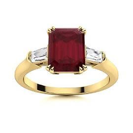 Natural 4.14 CTW Ruby & Diamond Engagement Ring 18K