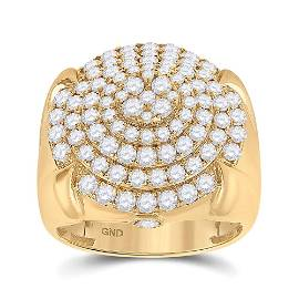 Mens Diamond Circle Cluster Ring 2-3/4 Cttw 10kt Yellow