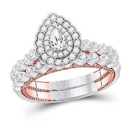 Pear Diamond Bridal Wedding Ring Band Set 1 Cttw 14kt