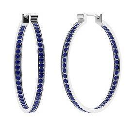 1.07 CTW Sapphire Hoops Earrings 18K White Gold