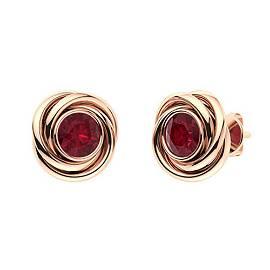 2.66 CTW Ruby Studs Earrings 18K Rose Gold
