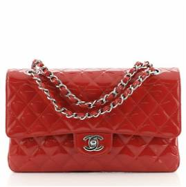 Chanel Vintage Classic Double Flap Bag Quilted Patent
