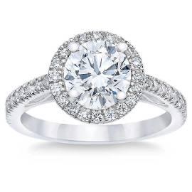 Natural 2 CT Diamond Engagement Ring 18K White Gold