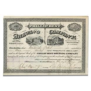 Pabst Beer - Phillip Best Brewing Co. Stock Certificate