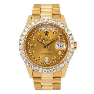 Rolex Day-Date 18038 36MM Champagne Diamond Dial With