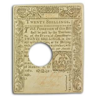 1780 20 Shillings Connecticut 3/1/1780 CU (Fr#CT-224)