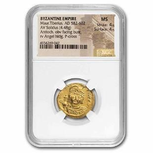 Byzantine Gold Solidus Maurice Tiberius (582-602 AD) MS