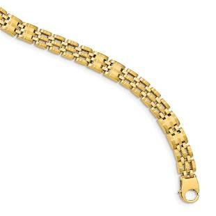 Men's 14k Yellow Gold Satin Watch Link Bracelet - 8.5