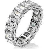 Natural 6.02 CTW Emerald Cut Diamond Eternity Ring 14KT