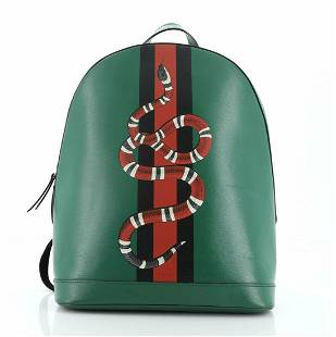 Gucci Web and Snake Backpack Printed Leather