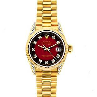 18k Yellow Gold Rolex Datejust Diamond Watch, 26mm,