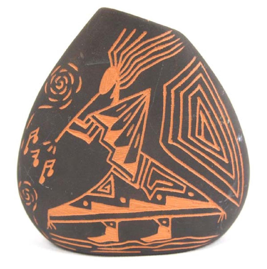 Native American Acoma Scraffito Vase by D Routzen