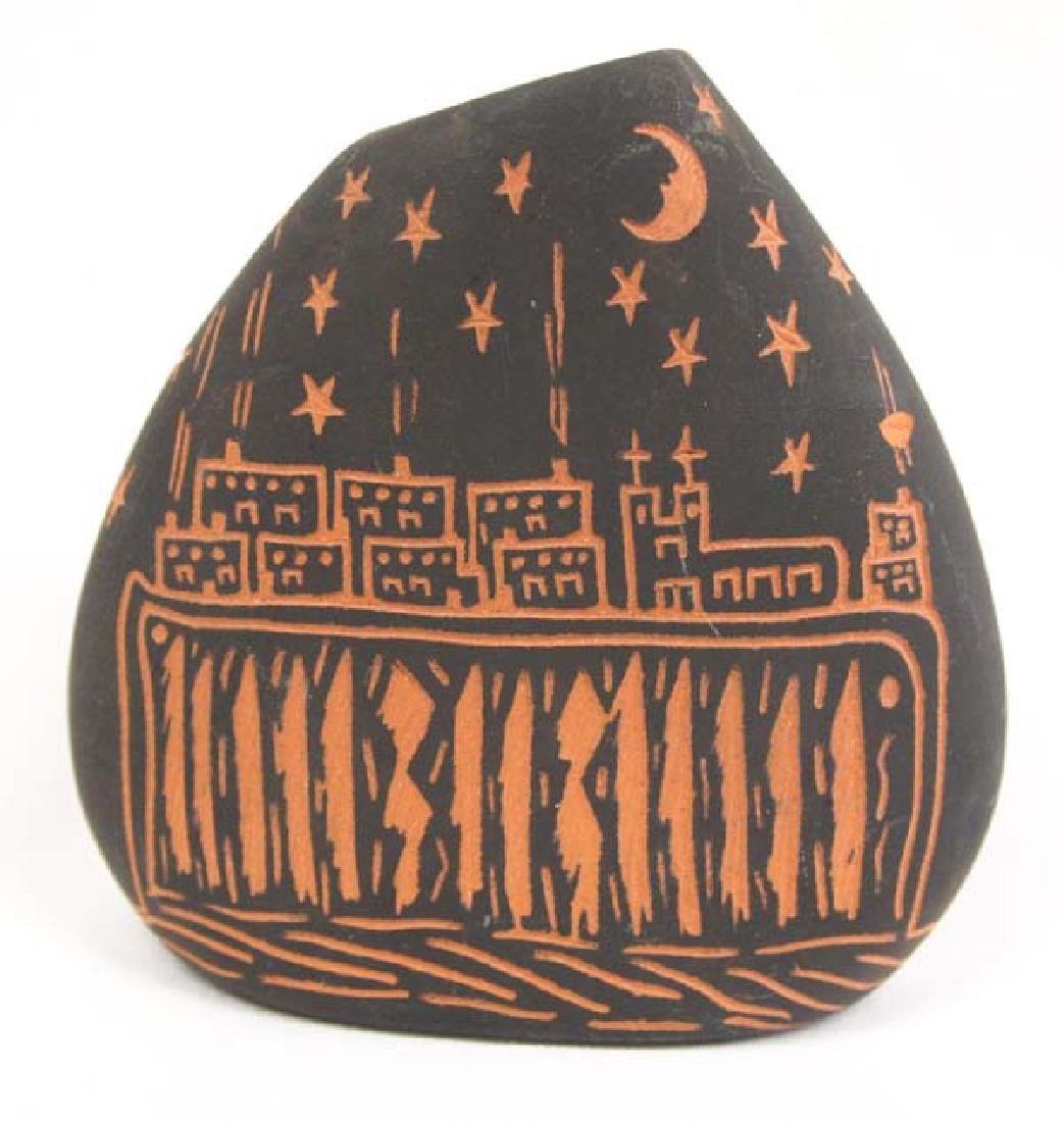 Native American Acoma Scraffito Vase by D Routzen - 2