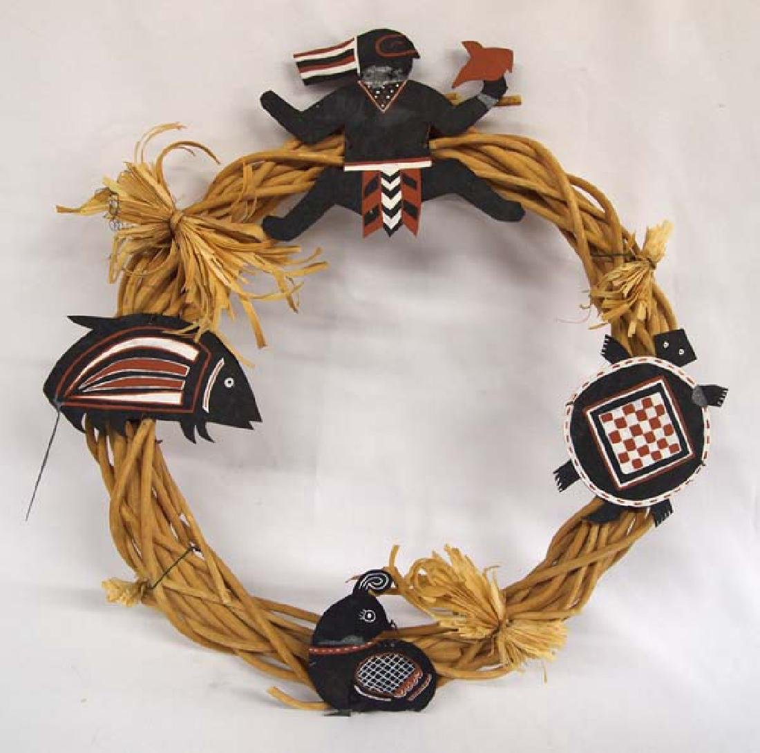Straw Wreath with Mimbres Design Tin Animals