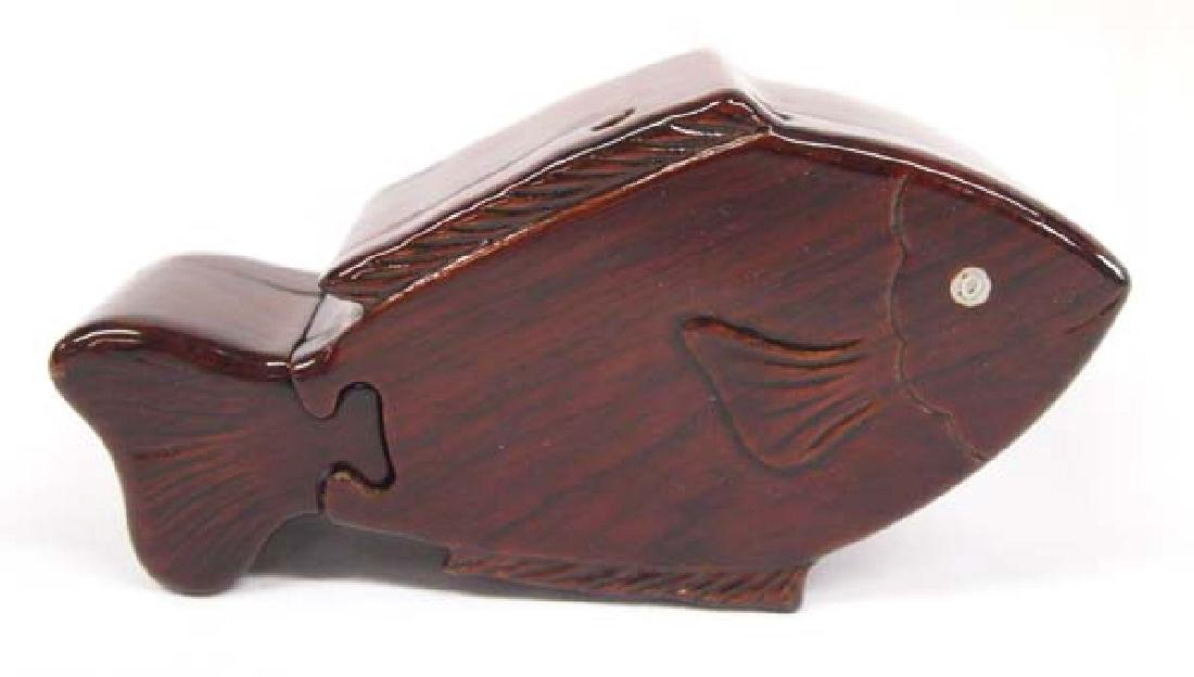 Carved and Laquered Wood Fish Puzzle Box